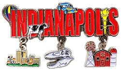 State of Indianapolis 3 Charm Dangle Magnet