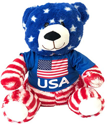 CityDreamShop USA Flag Patriotic Teddy Bear Cute Souvenir Plush Stuffed Animal Doll Featuring American Flag in Multicolor | Perfect Souvenir Gift Collection