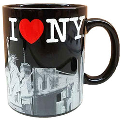I Love New York City with Red Heart Skyline Souvenir Durable Heavy Solid Base 11 oz Ceramic Coffee Mug