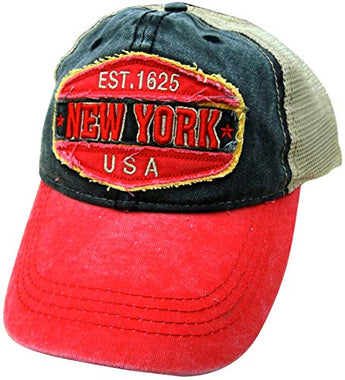 Embroidered New York USA Red Cap - Fashionable Unisex Cotton Adjustable Distressed New York City Baseball Cap - Cap for Dad - Perfect Souvenir Gift for Men, Women & Kids
