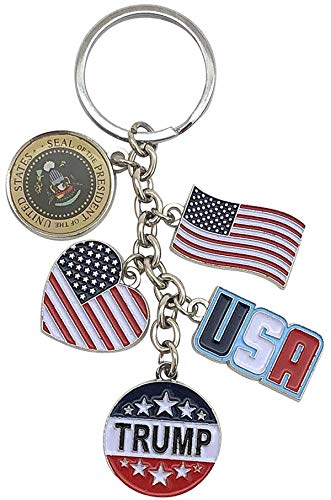 American Flag Trump Keychain | USA President's Seal 5 Charm Silvertone Key Ring |Perfect Souvenir Gift Collection for Men & Women who loves Trump & USA