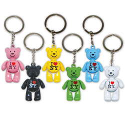 I Love New York Teddy Bear Keychain in Every Color in the Rainbow