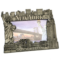 New York Picture Frame - Pewter, New York Picture Frames, Fits 4 X 5 1/2 photo.