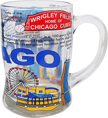 Collection of Designed Beer Mugs from Cities and States Across USA (History of Chicago)