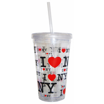 I Love New York Tumbler Coffee Mug With Straw.