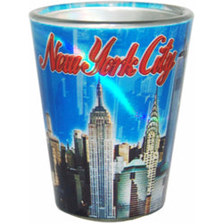 New York City Skyline Blue Metallic Shotglass