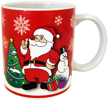 Christmas Holiday 11 oz Double Sided Ceramic Coffee Mug- Featuring Santa, Christmas Tree,Presents and a Cute Snowman