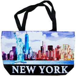 Colorful tote bag New york Skyline empire state statue of liberty
