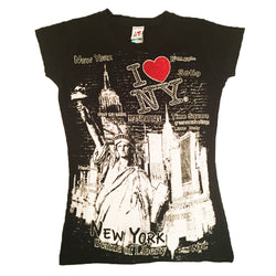 fashionable collage rhinestone i love ny shirt