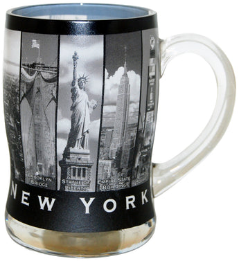 New York City Black and White Landmark Beer Mug