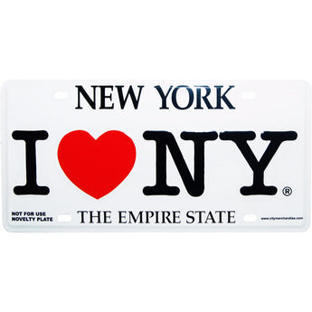 I Love New York Novelty License Plate white
