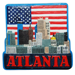 Atlanta USA Sky Line Magnet with American Flag