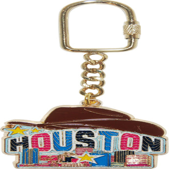 houston keychain with cowboy hat and city skyline
