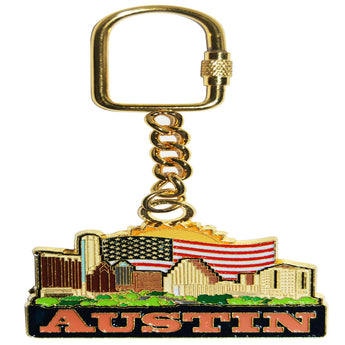 Austin Texas city skyline keychain with sun and american flag