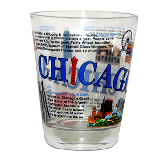 Histoic chicago novelty shotglass colorful