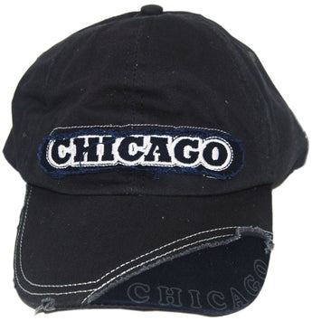 Chicago Embroidered Sewn On Black Baseball Cap