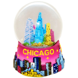 Chicago snow globe pink- city skyline