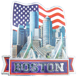boston skyline with American flag magnet