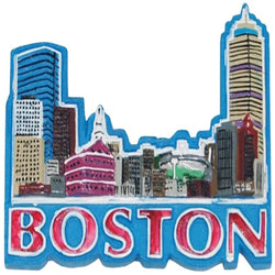 Boston skyline magnet blue and red