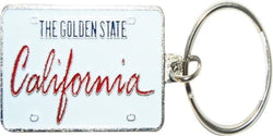 California License Plate Keychain white and red in script