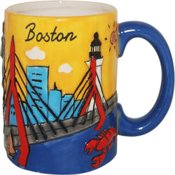 yellow handpainted boston mug city skyline lobster