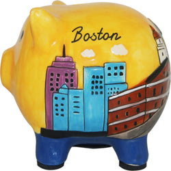 yellow handpanited boston piggy bank with city skyline