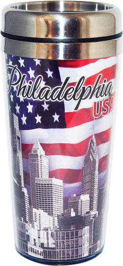 Philadelphia USA Patriotic Skyline Travel Mug