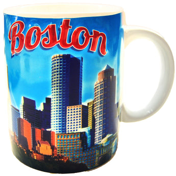 bright blue boston souvenir mug