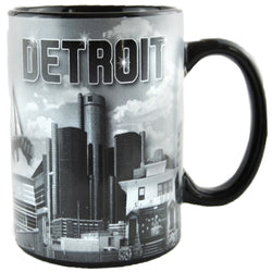 black and white detroit skyline mug