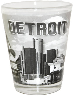 Detroit Black and White Skyline Shot Glass