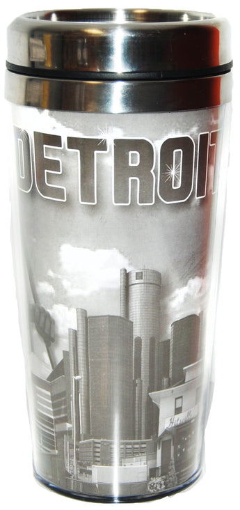black and white detroit travel mug with city skyline