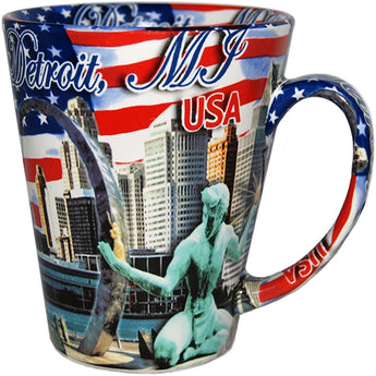 Detroit michigan united states of america mug city skyline spirit of detroit