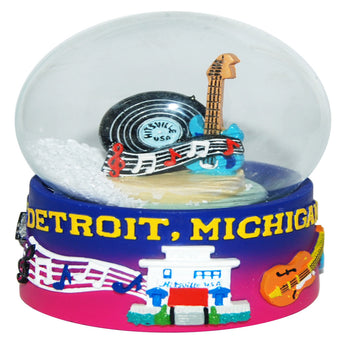 Pink and purple Detroit Michigan musical snowglobe