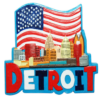 REd white and blue detroit magnet
