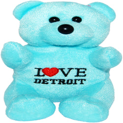 Blue i love detroit fluffy neon plush teddt bear