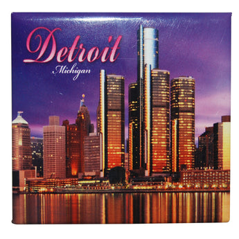 Purple detroit michigan skyline