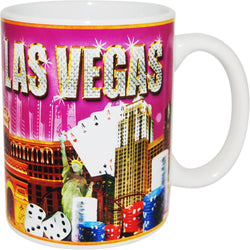 bright gold and pink casino lav vegas mug
