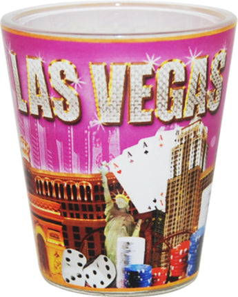 Las Vegas Pink and Gold Shotglass