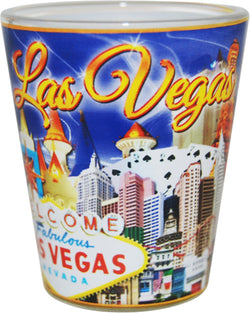 Las Vegas Dark Blue Designed Shotglass