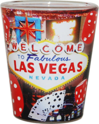 Las Vegas Red Dice Designed Shotglass