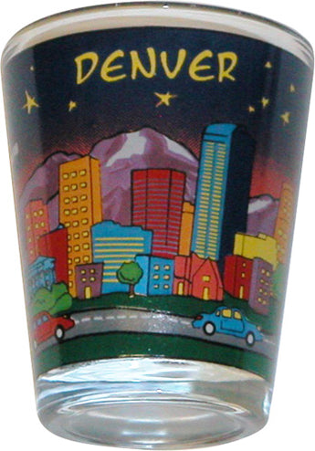 Denver Colorado At Night Skyline Shotglass