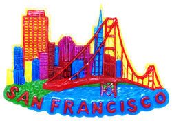 San Francisco City Skyline Magnet- Featuring Golden Gate Bridge
