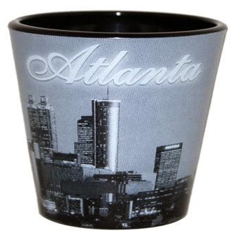 back and white atlanta shotglass with city skyline good fro drinking