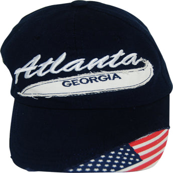 Black Atlanta Georgia Baseball Cap with AMerican flag