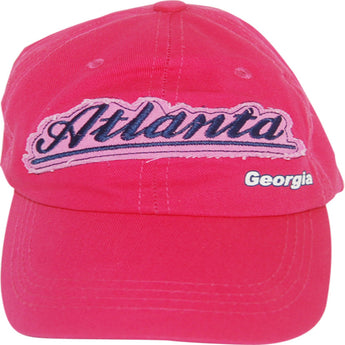 Hot pink atlanta baseball cap with script Atlanta writting