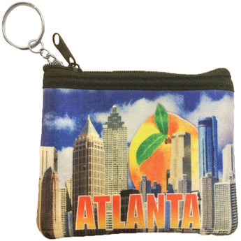 Blue atlanta coin purse with city skyline and giant georgain purse