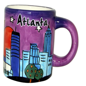 Handpanited Atlanta mug with city skyline at night