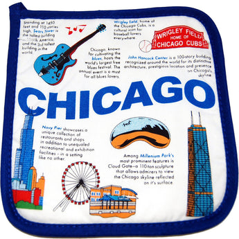 Chicago pot holder with all historic landmarks colorfull