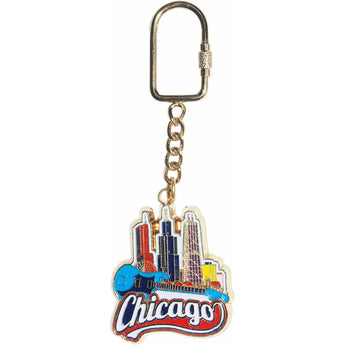 Chicago Colorful Skyline Keychain
