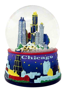 purple chicago skyline snowglobe at night